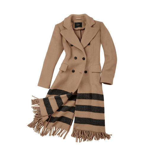 Fashion makeover for the classic camel coat: Blazer cut. Stripes. Fringe. Fashion makeover for the classic camel coat: Blazer cut. Stripes. Fringe. From Seventy Venezia, Italy.
