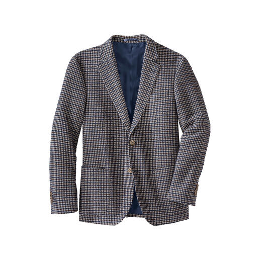 Much lighter (and warmer) than usual. And as soft as your favourite pullover. Modern houndstooth sports jacket made of exclusive bouclé yarn.