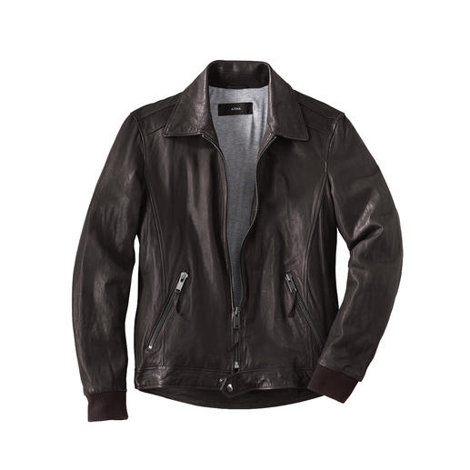 Lambskin Nappa Leather Biker Jacket Hard-wearing lambskin nappa leather. Gently pre-washed. Classic design. Pleasant price. By Arma.