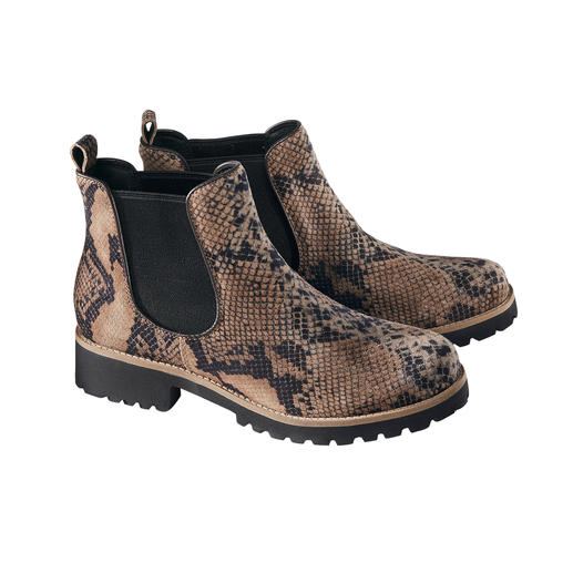 Green Comfort Chelsea Boots With shock-absorbing high-tech sole and trendy reptile look. From Green Comfort, Denmark.
