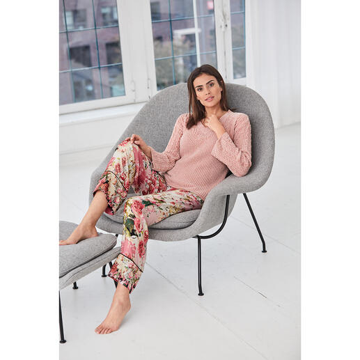 TWINSET Loungewear Pullover or Trousers Cable knit. Chenille. Statement sleeves. Floral print. Fashionable cut. By TWINSET.