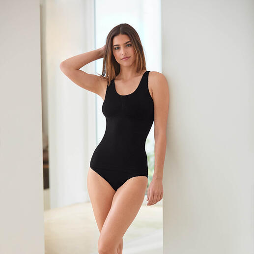 Seamless Fine Rib Top or Briefs The seamless lingerie cleverly creates a visually slimmer figure.