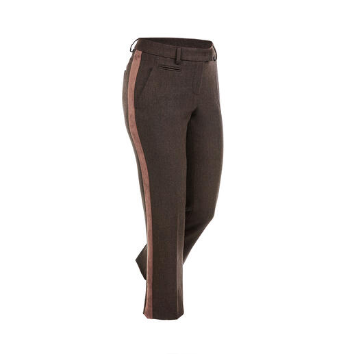 "Seductive Galon Trousers ""Blended Wool"", Brown Soft, won't chafe, comfortably elastic, hardwearing and machine washable."