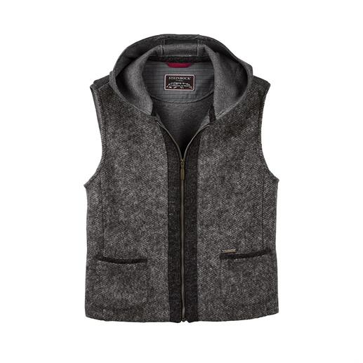Steinbock Felted Wool Hooded Waistcoat Warm felted wool: Traditionally weatherproof like high-tech fabric, but much more stylish.