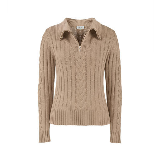 Traditional knitted zip-neck pullovers are rarely this modern or feminine. Traditional knitted zip-neck pullovers are rarely this modern or feminine. Shorter length. Finished with silk.