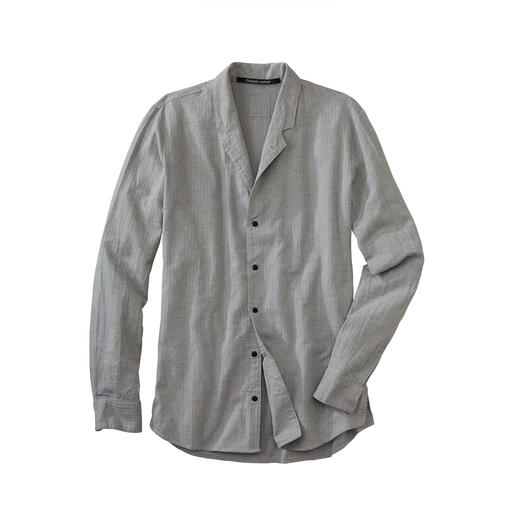 Hannes Roether Shirt with Stand-up Collar With a dash of warm wool. The collar can be turned down to give styling options. By Hannes Roether.