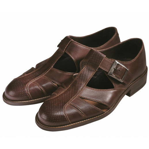 "Piaceri Sandals, Dark Brown At last – ""sandals"" for formal wear."