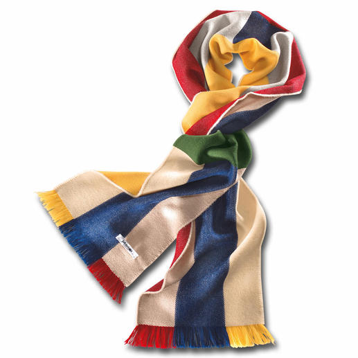 Johnstons Rainbow Scarf A colourful scarf that's not showy. In superfine merino wool – soft, light and warm.