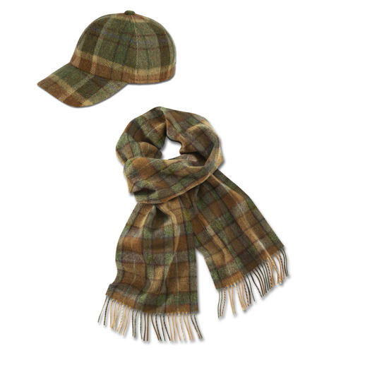 Lambswool Check Scarf or Cap - The gentleman's baseball cap – with matching scarf. By John Hanly & Co, traditional Irish weavers since 1893.