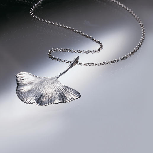 Ginkgo Necklace - The leaf of the world's oldest tree. Cast in 925 sterling silver.