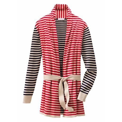 30 Gauge Striped Cardigan - Delicate 30 gauge intarsia knit. The favourite among discerning Smedley customers.