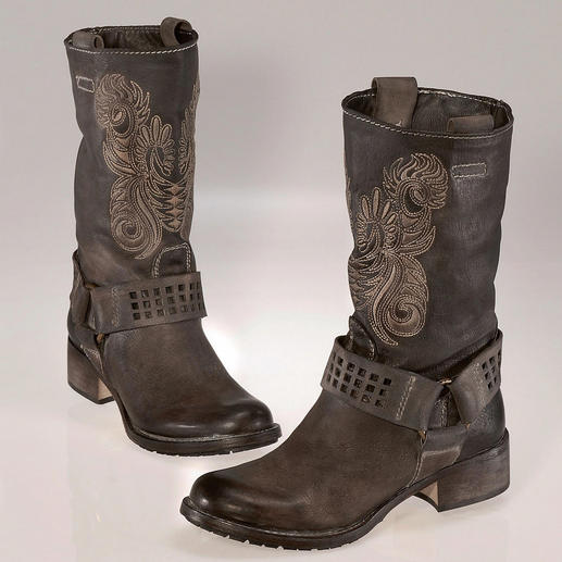 Embroidered Biker Boots For real fashionistas, biker boots are a must-have. These are rugged without being clunky.