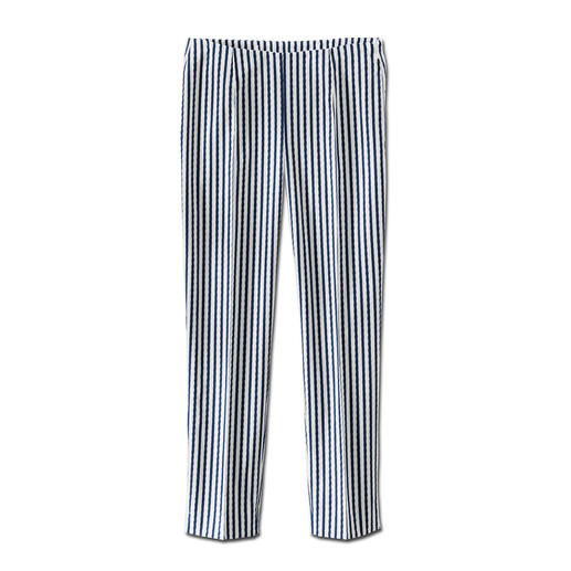 "Seersucker Trousers ""Blue Stripes"" - The perfect summer trousers: Airy, light woven seersucker – yet elegant enough for the office."