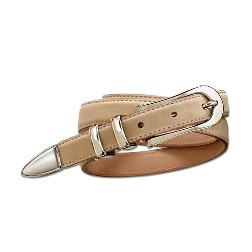 "The ideal 3⁄4"" basic belt: Perfect with sporty and elegant outfits. Made from soft velours leather with feminine metal embellishments. Perfect with sporty and elegant outfits."