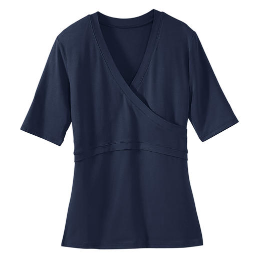 """Wrap"" Top, short sleeves At last – a wrap top that fits perfectly. Its secret: A mock wrap design without annoying ties."