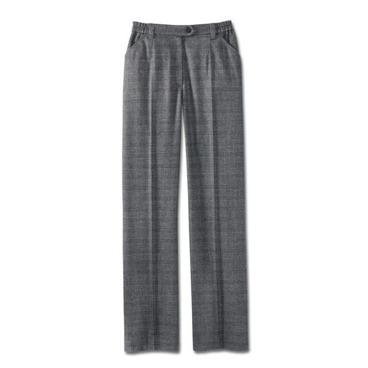 Machine Washable Glen Plaid Trousers As elegant as finest wool cloth. As soft as cashmere. But as uncomplicated as denim.