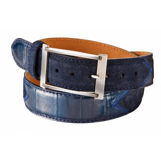 Eel-Nubuck Belt Rare handicraft. Unusual eel leather. Belt by Andrea Zori from Paolo da Ponte, Italy.