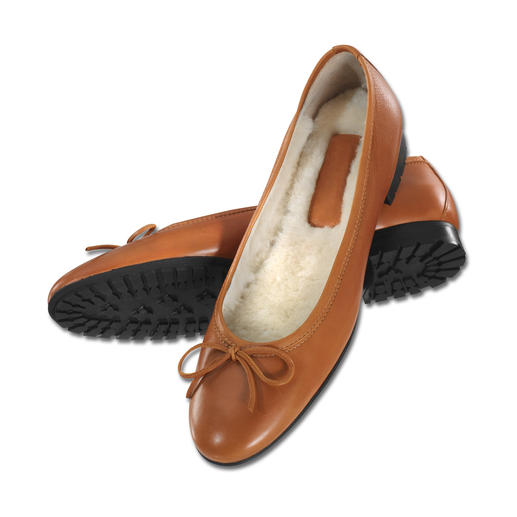 Casanova Lambskin Ballerina Flats Good news if you love ballerina flats: Now they're available in a warm winter version.