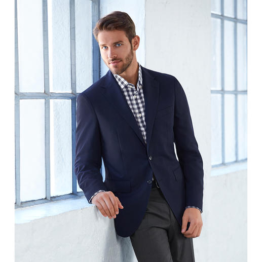"""Super 130"" Climate Sports Jacket With 1,300,000 woven pores, your respectable blue sports jacket is ideal for the summer."