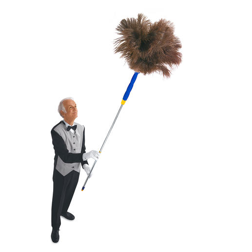 Ostrich Feather Duster - Feather duster with additional telescope handle. Extends to 6 feet.