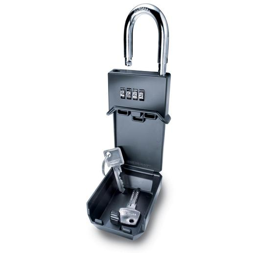 Key Safe Solid. Weatherproof. Shaped like a padlock, so it can be mounted almost anywhere.