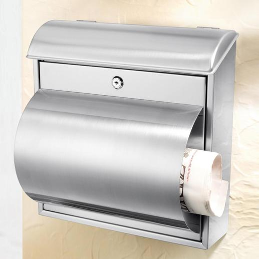 Stainless Steel Letter Box Solid, long-lasting quality. With a practical newspaper slot.